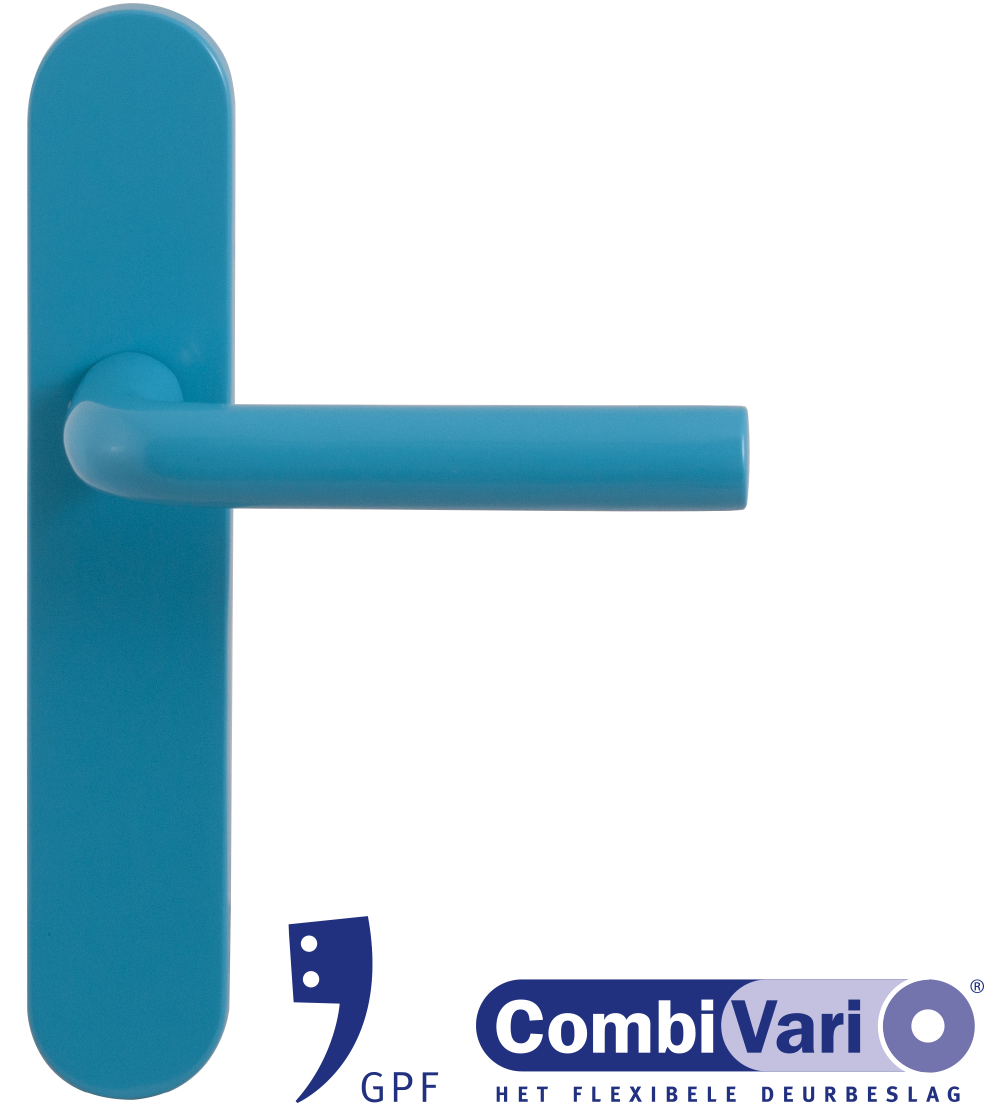 GPF Combivari blue door handle on plate