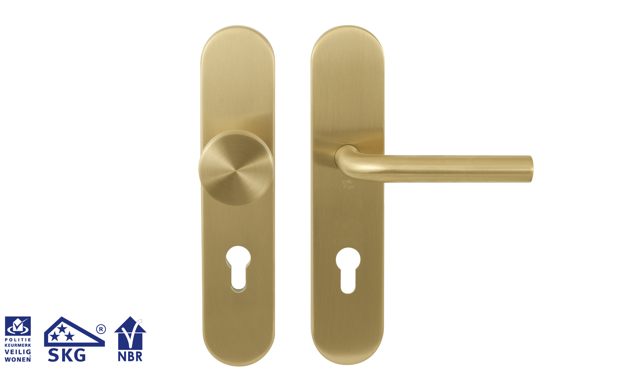 Safety fittings in PVD satin brass