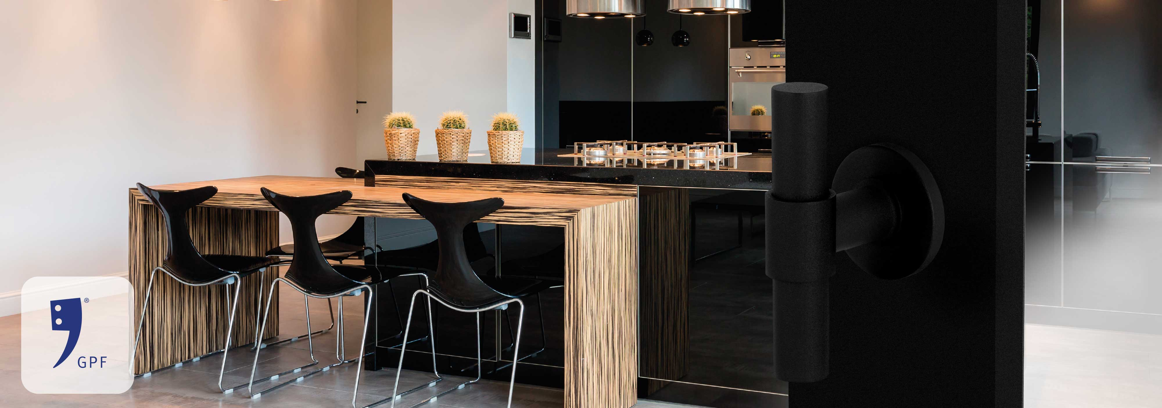 Stylish kitchen interior in black