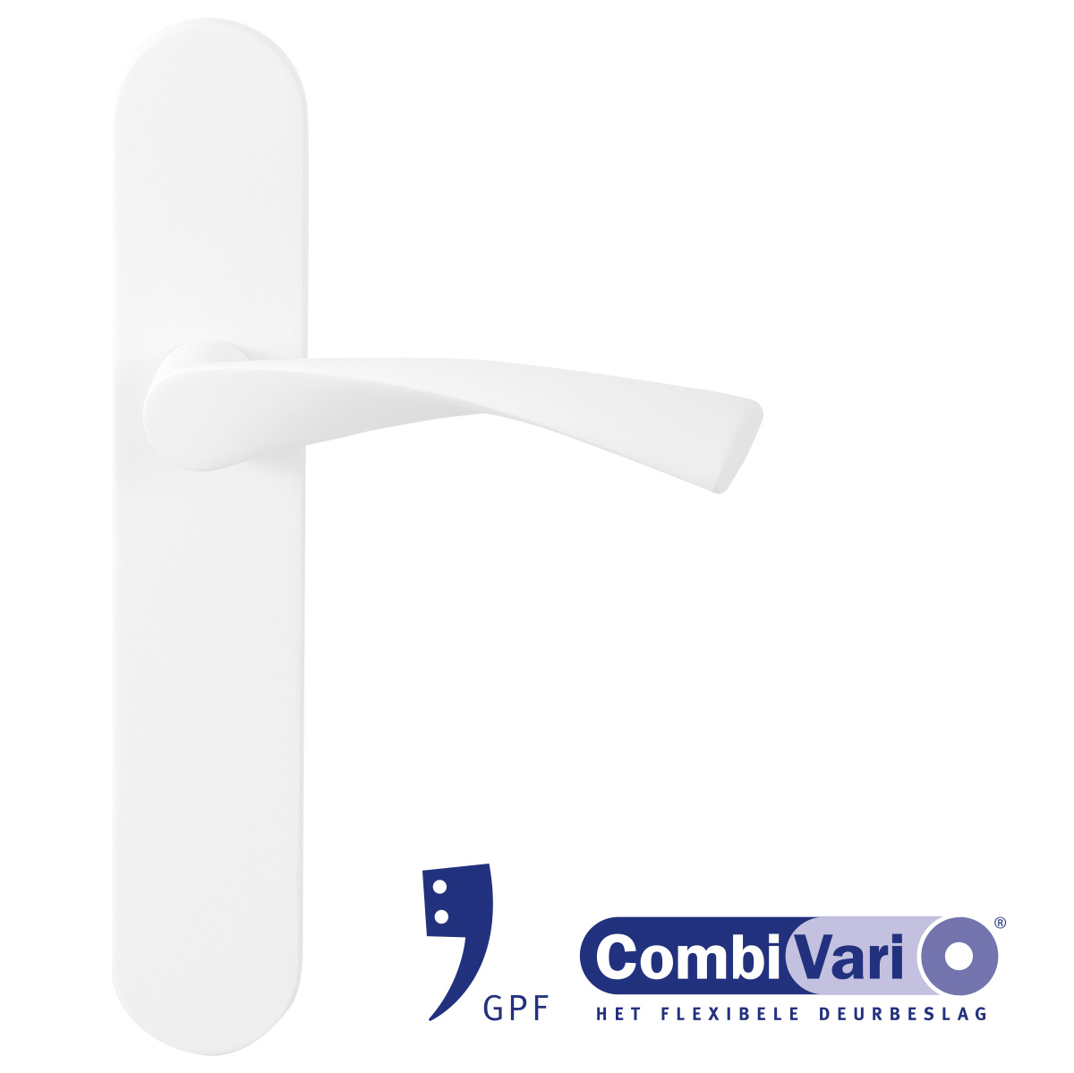 GPF door handle on plate in white