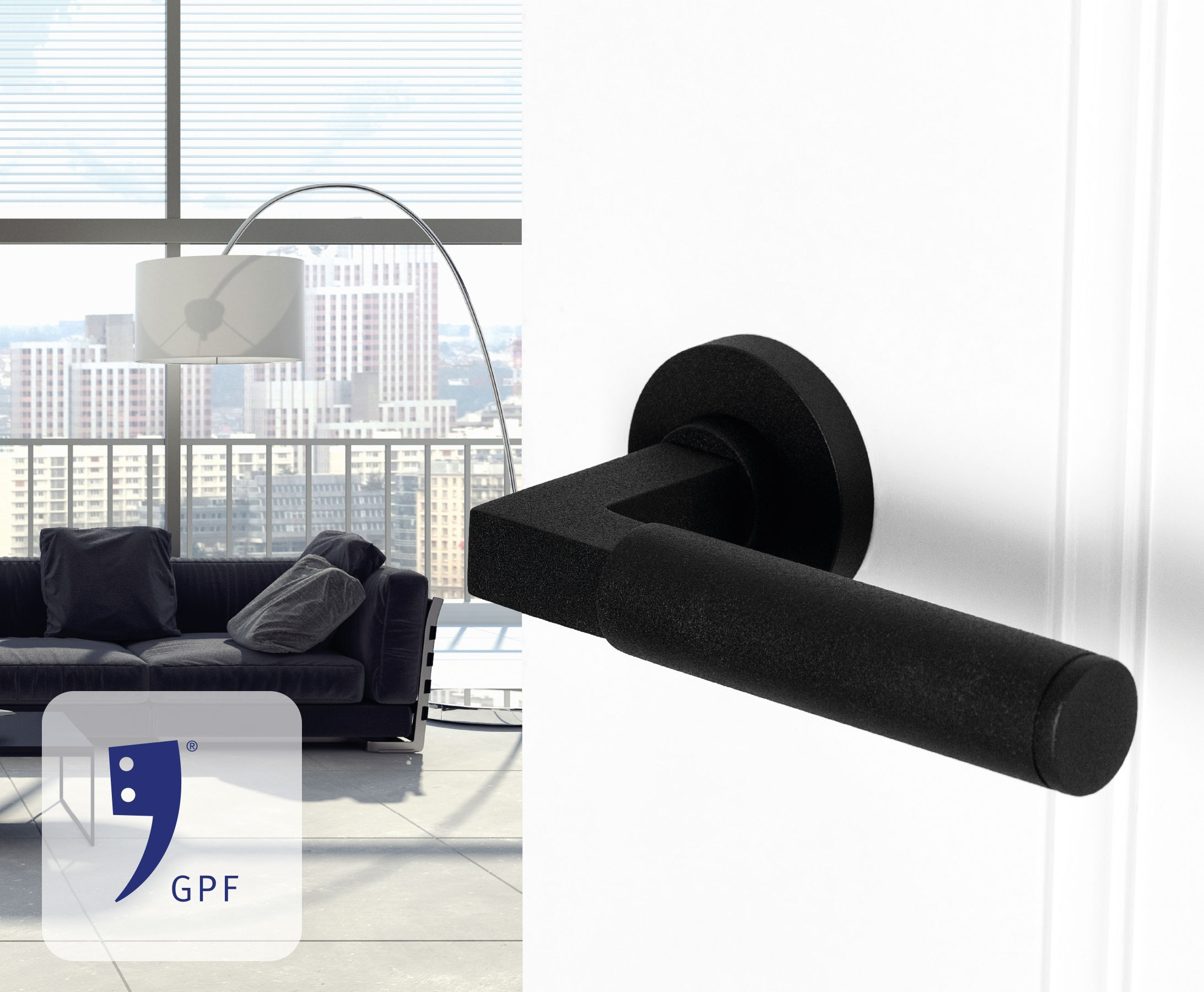 GPF building hardware interior with black door handle